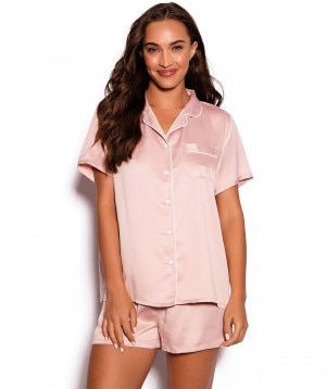 59f4bdaa04 Liquid Satin Short PJ Set - Light Pink ...
